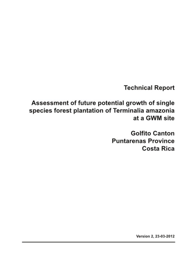 Greenwood Management Technical Forestry Report Terminalia Amazonia