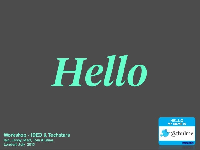 IDEO workshop for Techstars