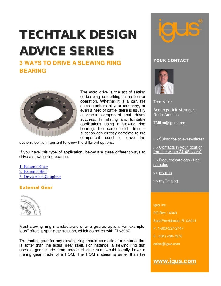 Tech Talk Design Advice: 3 Ways To Drive A Slewing Ring Bearing