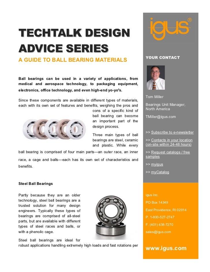 TechTalk Design Advice: A-guide-to-ball-bearings-materials