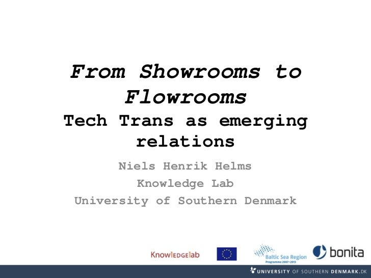 From Showrooms to Flowrooms Tech Trans as emerging relations Niels Henrik Helms Knowledge Lab University of Southern Denmark