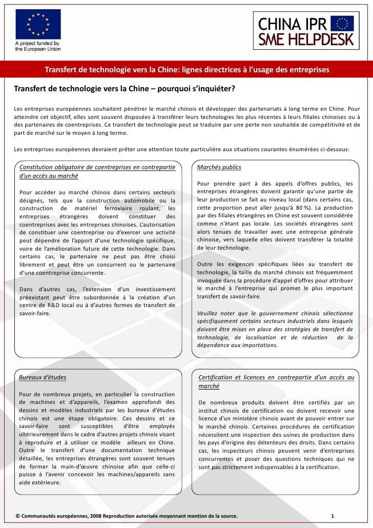Transfert de technologie vers la Chine: lignes directrices à l'usage des entreprises