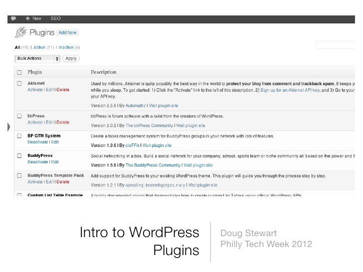 Intro to WordPress    Doug Stewart                      Philly Tech Week 2012            Plugins