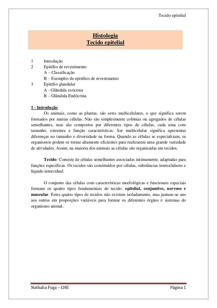 Tecido epitelial                                  Histologia                                Tecido epitelial1      Introdu...