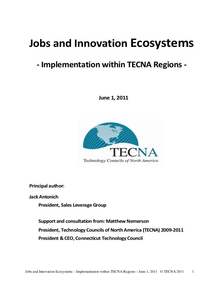 Jobs and Innovation Ecosystems      - Implementation within TECNA Regions -                                            Jun...