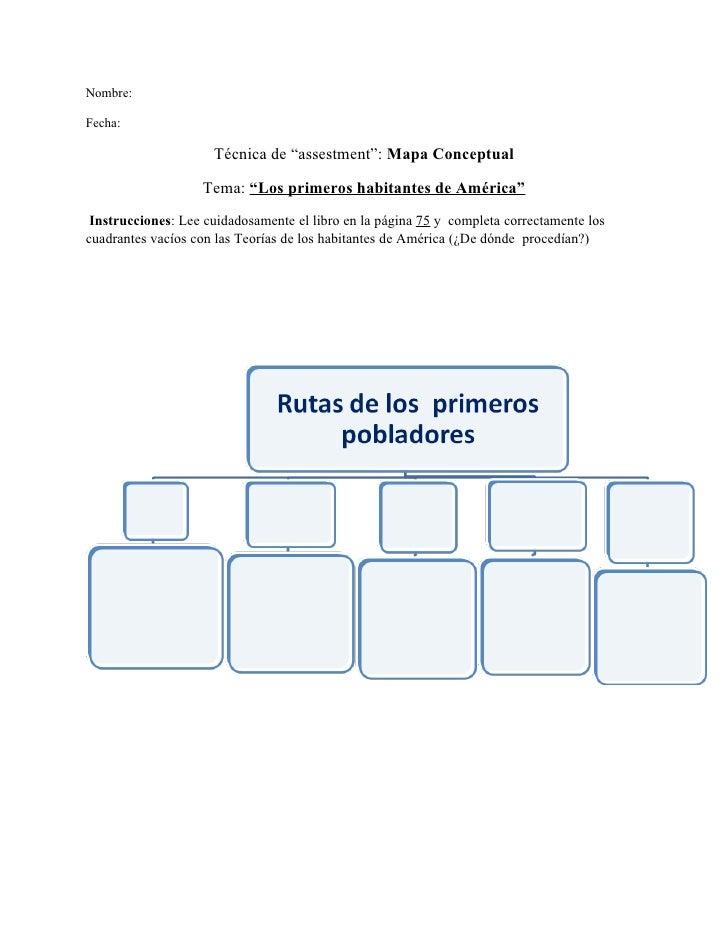 """Nombre:  Fecha:                       Técnica de """"assestment"""": Mapa Conceptual                     Tema: """"Los primeros hab..."""
