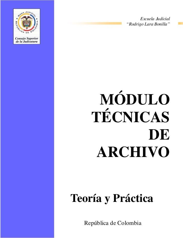 Tecnicas de archivo administrativos y judiciales