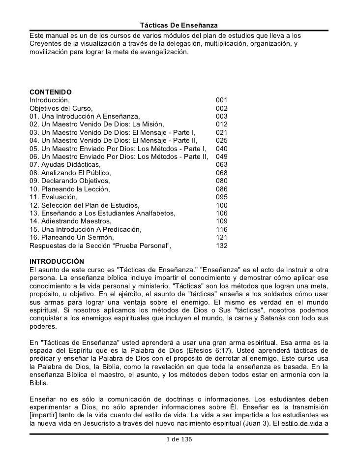 Tácticas De Enseñanza Este manual es un de los cursos de varios módulos del plan de estudios que lleva a los Creyentes de ...