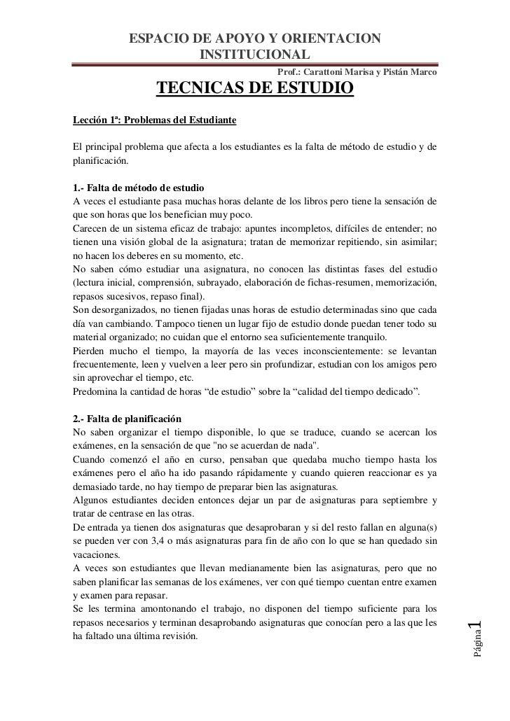 ESPACIO DE APOYO Y ORIENTACION                      INSTITUCIONAL                                                 Prof.: C...