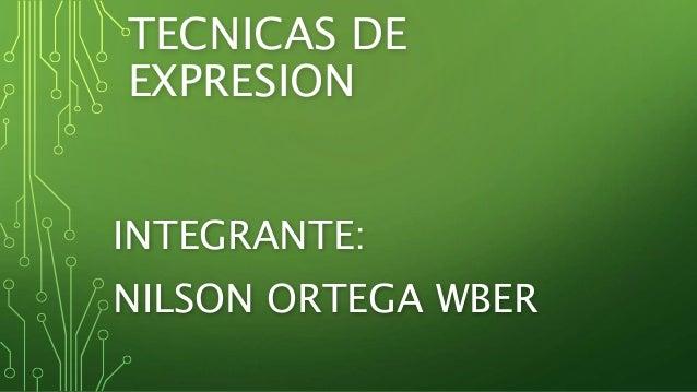 TECNICAS DE EXPRESION INTEGRANTE: NILSON ORTEGA WBER