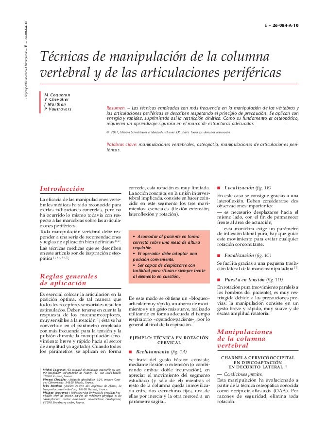 Encyclopédie Médico-Chirurgicale – E – 26-084-A-10  E – 26-084-A-10  Técnicas de manipulación de la columna vertebral y de...