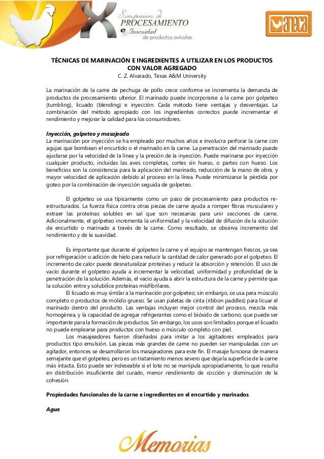 TÉCNICAS DE MARINACIÓN E INGREDIENTES A UTILIZAR EN LOS PRODUCTOS CON VALOR AGREGADO C. Z. Alvarado, Texas A&M U...