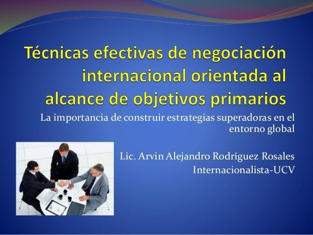 La importancia de construir estrategias superadoras en el entorno global Lic. Arvin Alejandro Rodríguez Rosales Internacio...