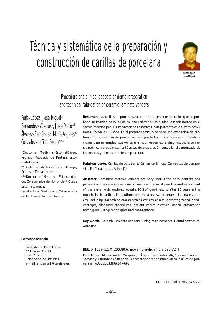 Técnica y sistemática de la preparación y       construcción de carillas de porcelana                                     ...