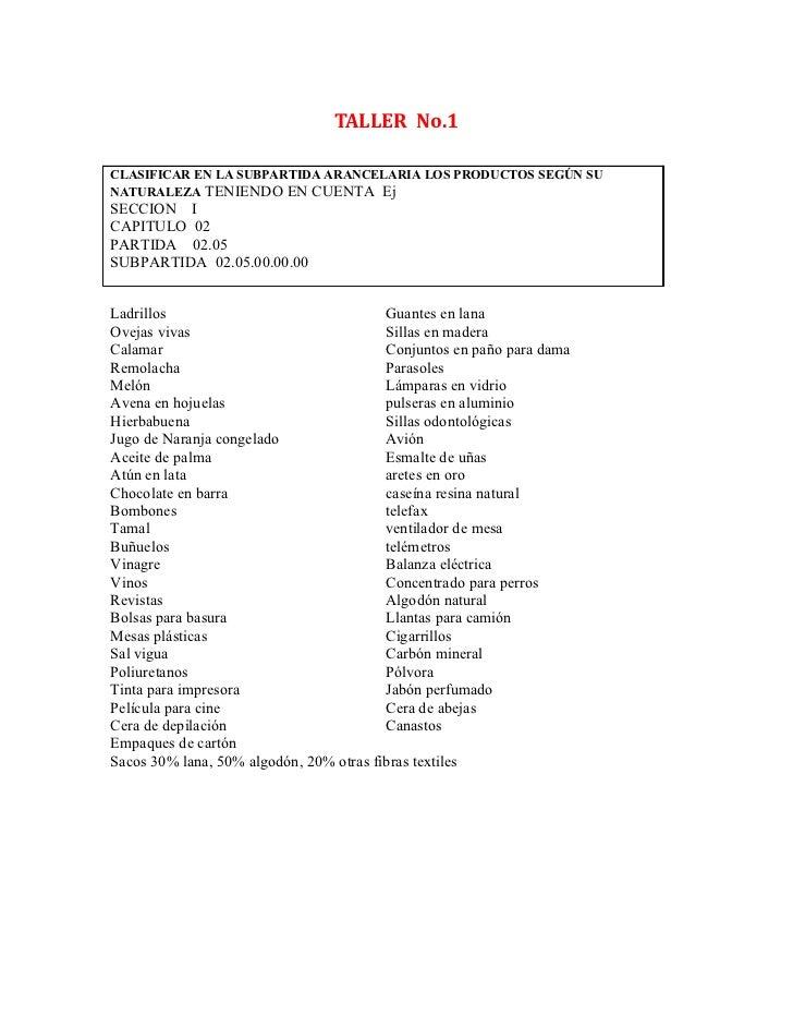 TALLER No.1CLASIFICAR EN LA SUBPARTIDA ARANCELARIA LOS PRODUCTOS SEGÚN SUNATURALEZA TENIENDO EN CUENTA EjSECCION ICAPITULO...