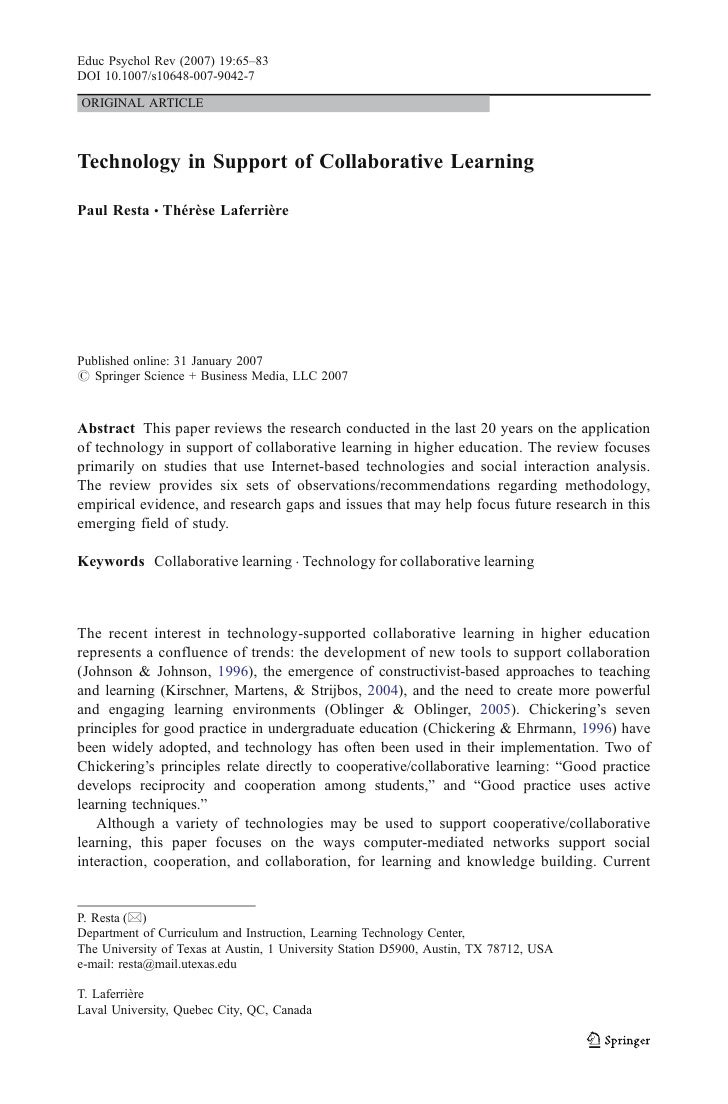 Educ Psychol Rev (2007) 19:65–83 DOI 10.1007/s10648-007-9042-7  ORIGINAL ARTICLE    Technology in Support of Collaborative...