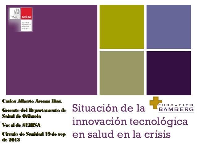 + Situación de la innovación tecnológica en salud en la crisis Carlos Alberto Arenas Díaz.Carlos Alberto Arenas Díaz. Gere...