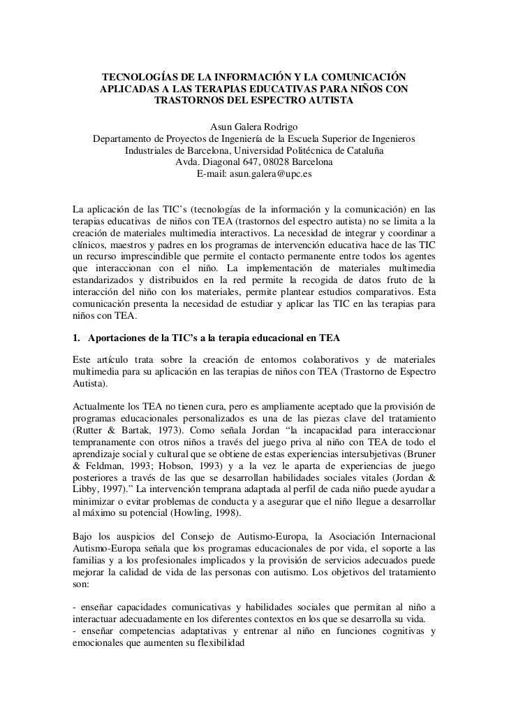 TECNOLOGÍAS DE LA INFORMACIÓN Y LA COMUNICACIÓN      APLICADAS A LAS TERAPIAS EDUCATIVAS PARA NIÑOS CON              TRAST...