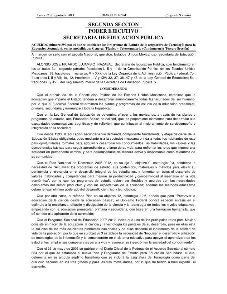 Lunes 22 de agosto de 2011                   DIARIO OFICIAL                              (Segunda Sección)                ...