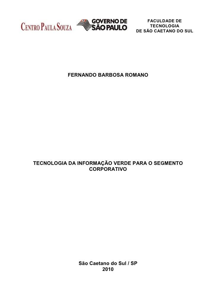 FACULDADE DE                                         TECNOLOGIA                                    DE SÃO CAETANO DO SUL  ...