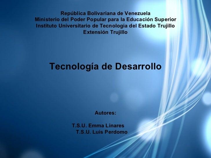República Bolivariana de VenezuelaMinisterio del Poder Popular para la Educación SuperiorInstituto Universitario de Tecnol...