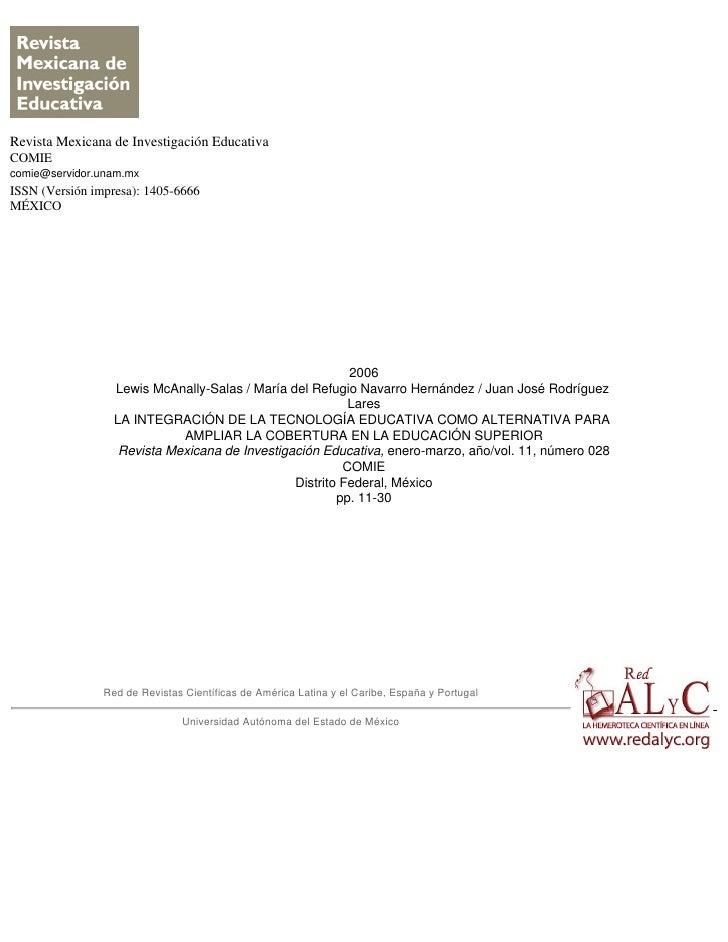 Revista Mexicana de Investigación EducativaCOMIEcomie@servidor.unam.mxISSN (Versión impresa): 1405-6666MÉXICO             ...