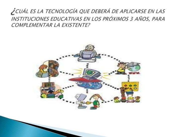 ¿CUÁL ES LA TECNOLOGÍA QUE DEBERÁ DE APLICARSE EN LAS INSTITUCIONES EDUCATIVAS EN LOS PRÓXIMOS 3 AÑOS, PARA COMPLEMENTAR L...