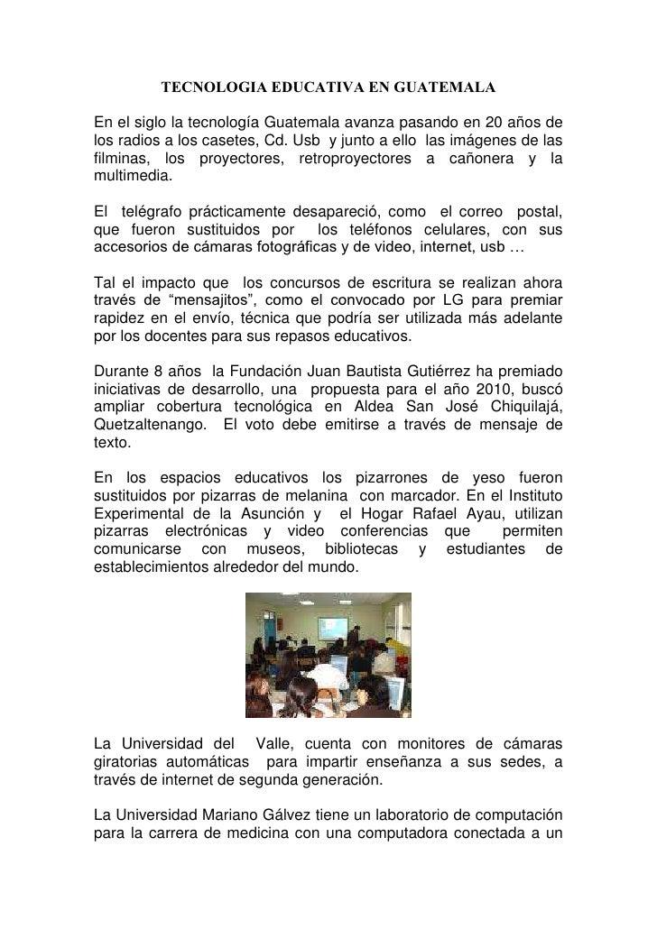 Tecnologia educativa en guatemala