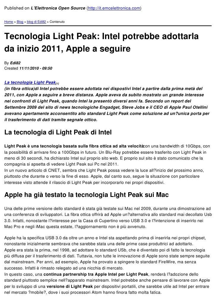 Published on LElettronica Open Source (http://it.emcelettronica.com)Home > Blog > blog di Edi82 > ContenutoTecnologia Ligh...