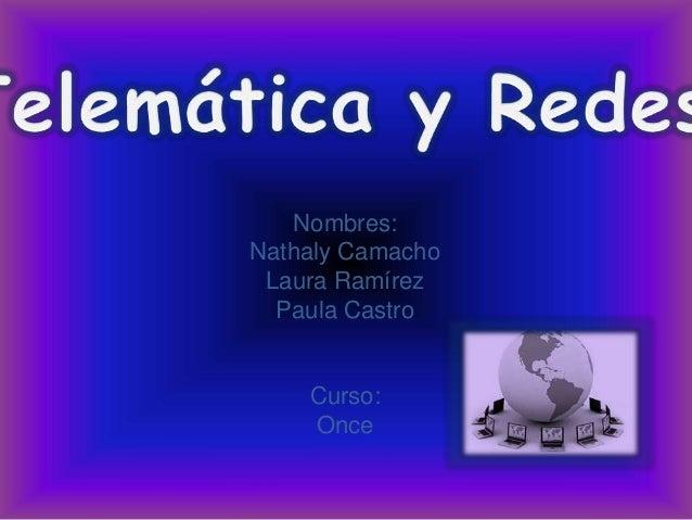 Nombres: Nathaly Camacho Laura Ramírez Paula Castro Curso: Once