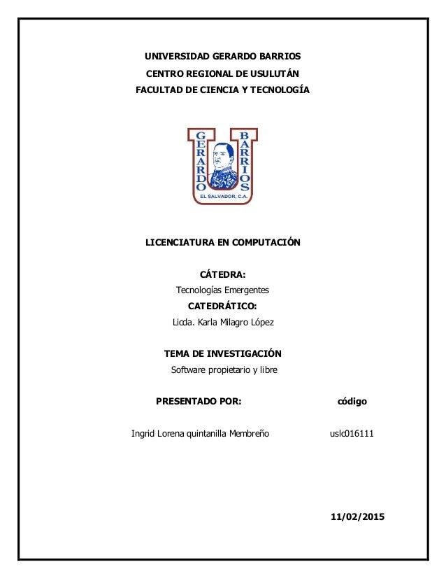 UNIVERSIDAD GERARDO BARRIOS CENTRO REGIONAL DE USULUTÁN FACULTAD DE CIENCIA Y TECNOLOGÍA LICENCIATURA EN COMPUTACIÓN CÁTED...