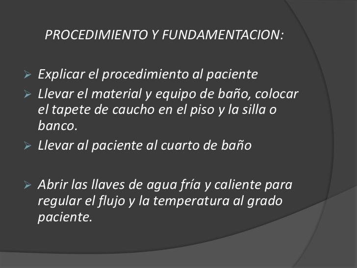 Baño De Regadera Fundamentacion:Tecnologias de aseo parcial y total