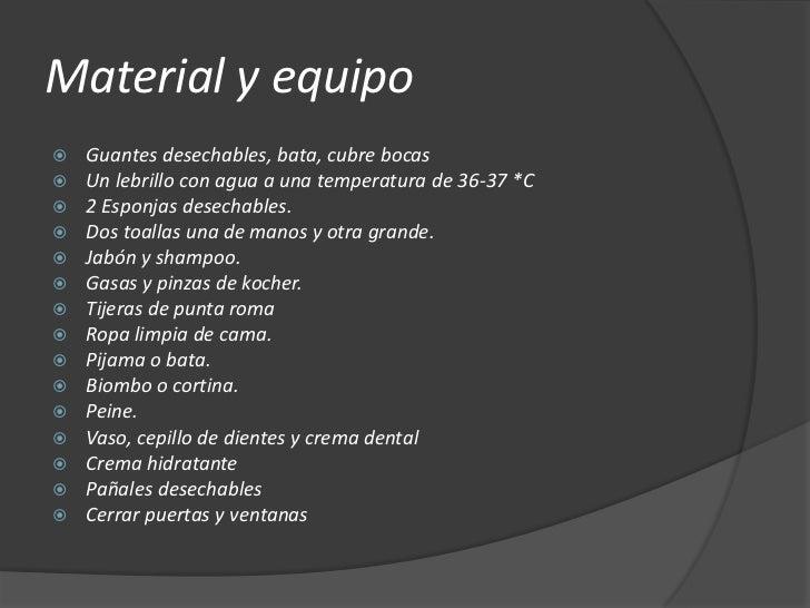 Baño General Del Paciente En Regadera:Tecnologias de aseo parcial y total
