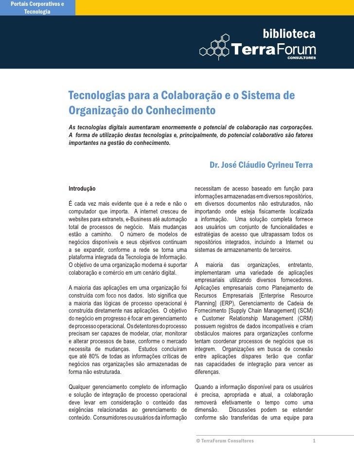 Tecnologias para a Colaboracao e o Sistema de Organizacao do Conhecimento
