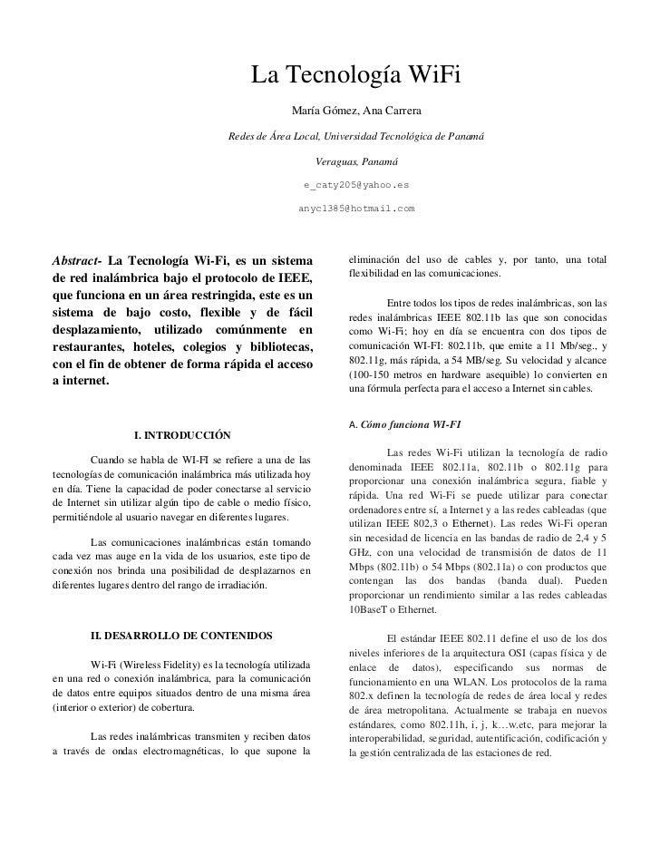 La Tecnología WiFi                                                         María Gómez, Ana Carrera                       ...