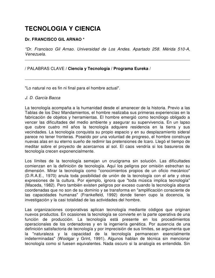 TECNOLOGIA Y CIENCIADr. FRANCISCO GIL ARNAO **Dr. Francisco Gil Arnao. Universidad de Los Andes. Apartado 258. Mérida 510-...