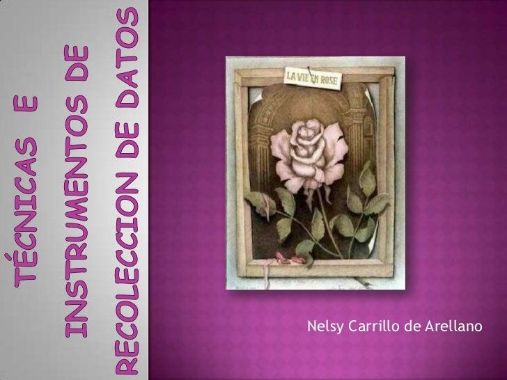 TÉCNICAS  e instrumentos DE RECOLECCION DE DATOS<br />Nelsy Carrillo de Arellano<br />