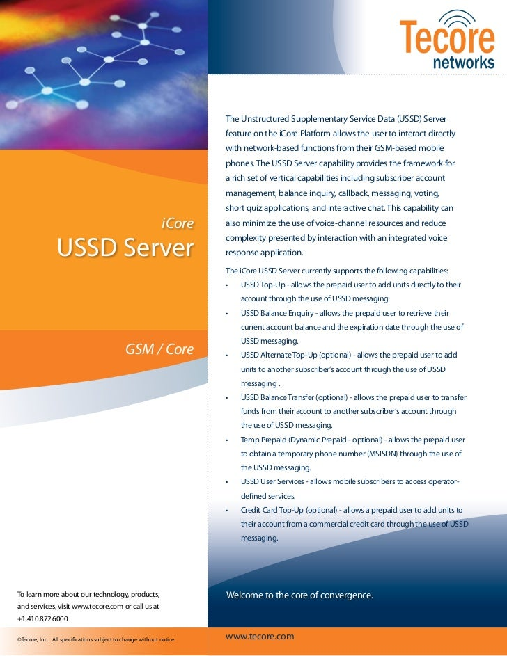The Unstructured Supplementary Service Data (USSD) Server                                                                 ...