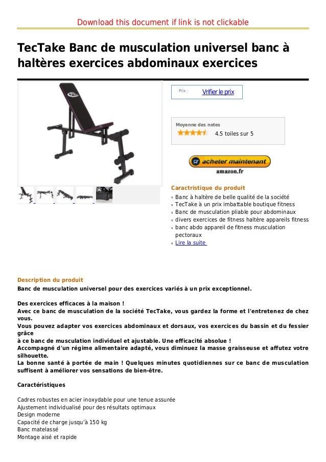 Tec take banc de musculation universel banc halt res exercices ab - Banc abdominaux exercices ...