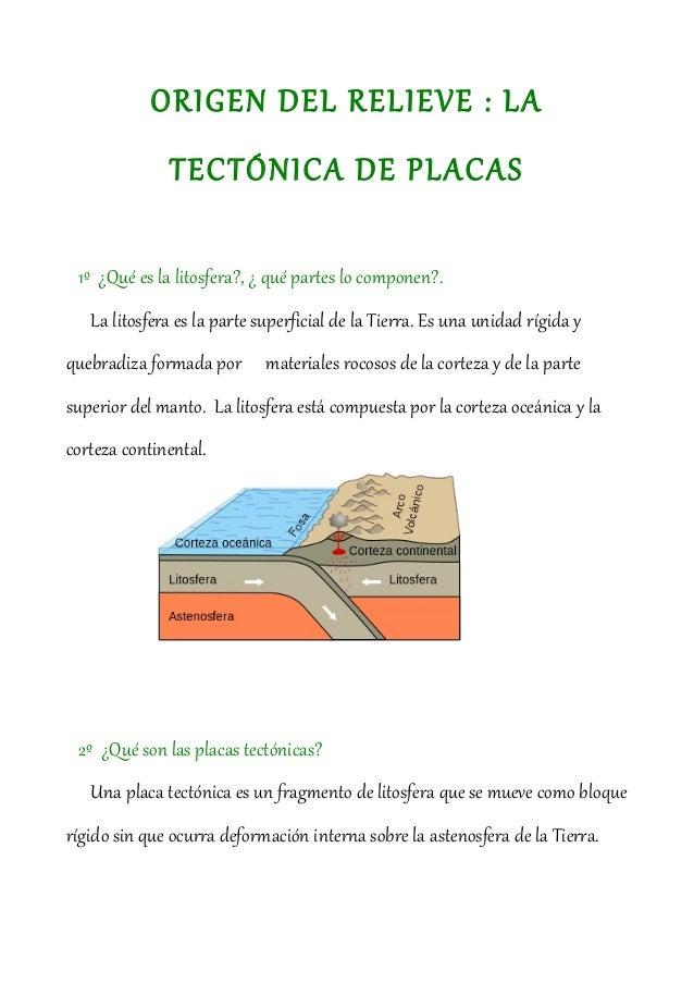 ORIGEN DEL RELIEVE : LA              TECTÓNICA DE PLACAS 1º ¿Qué es la litosfera?, ¿ qué partes lo componen?.   La litosfe...