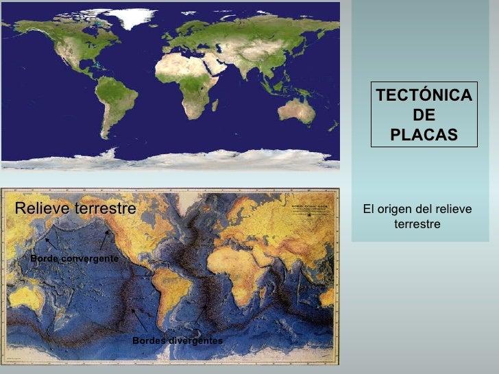 TECTÓNICA DE PLACAS El origen del relieve terrestre Relieve terrestre Bordes divergentes Borde convergente