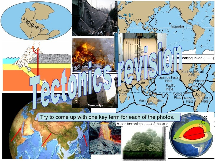 Tectonics revision Try to come up with one key term for each of the photos.