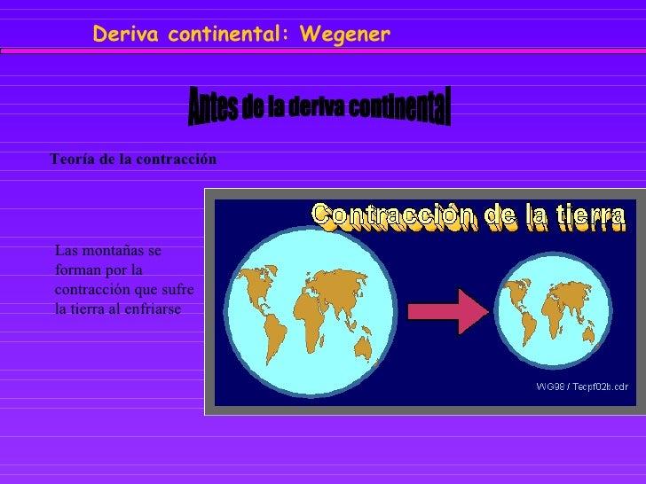 Antes de la deriva continental Teoría de la contracción Las montañas se forman por la contracción que sufre la tierra al e...