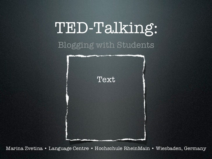 TED-Talking: Blogging with Students