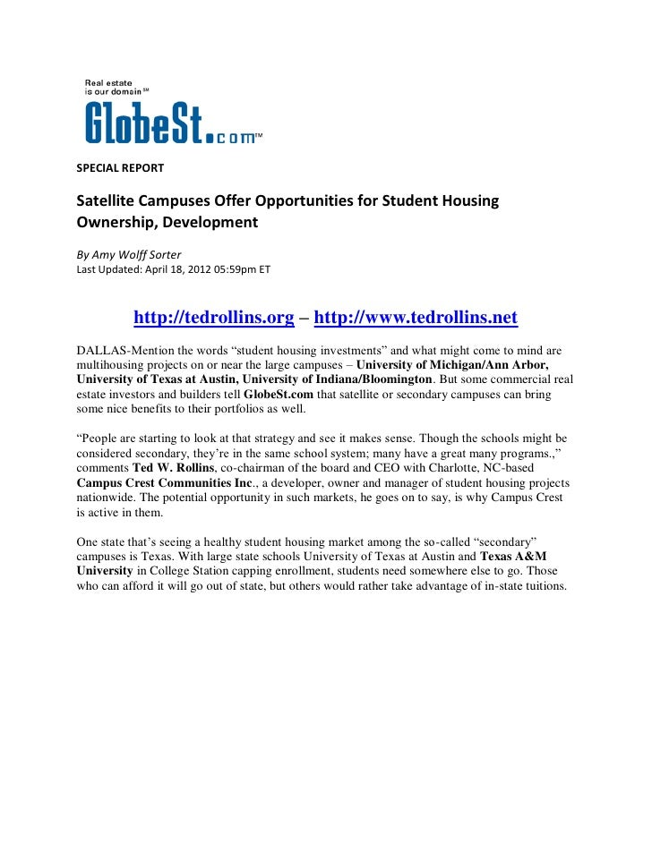 SPECIAL REPORTSatellite Campuses Offer Opportunities for Student HousingOwnership, DevelopmentBy Amy Wolff SorterLast Upda...