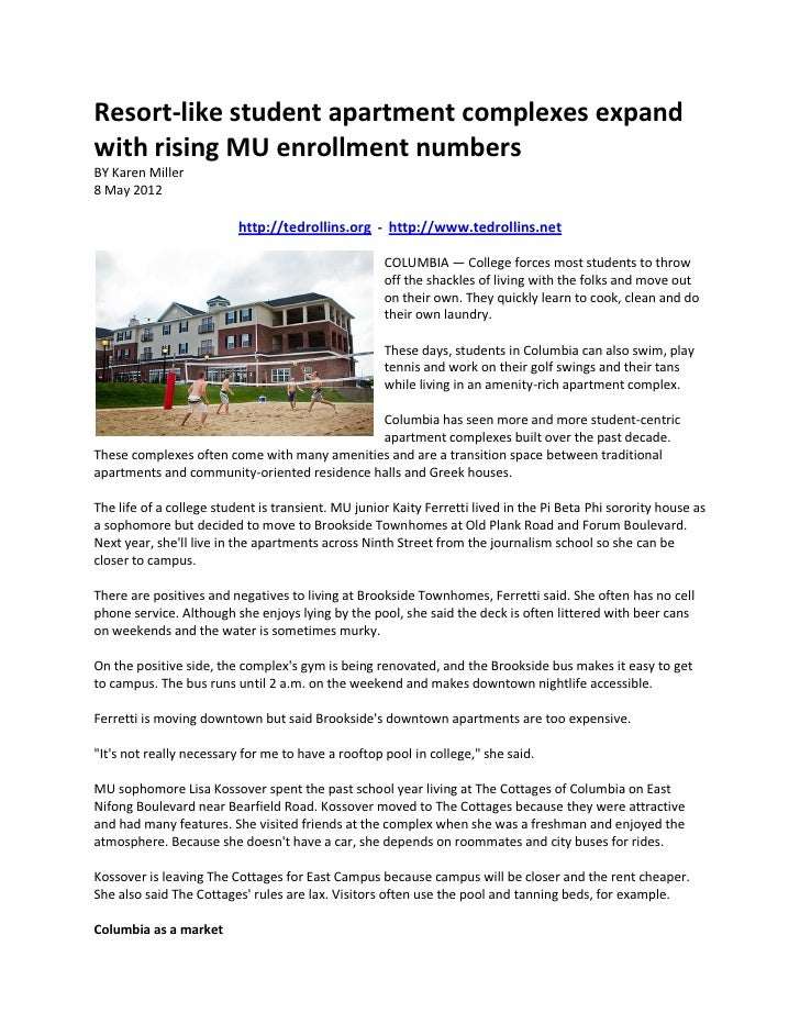 Resort-like student apartment complexes expandwith rising MU enrollment numbersBY Karen Miller8 May 2012                  ...