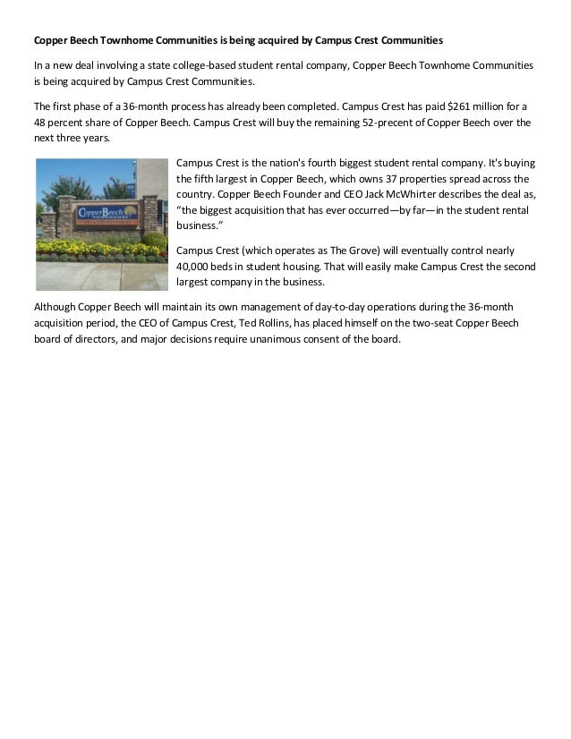 Copper Beech Townhome Communities is being acquired by Campus Crest Communities
