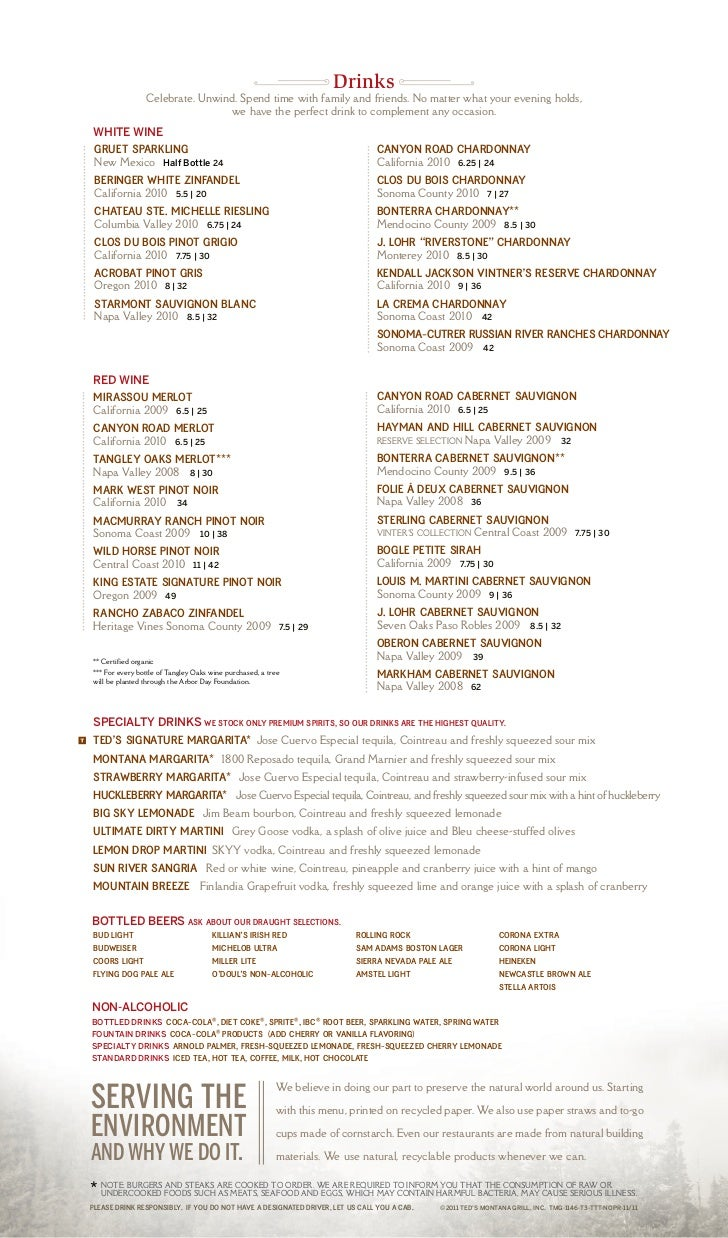 Ted's Montana Grill Menu