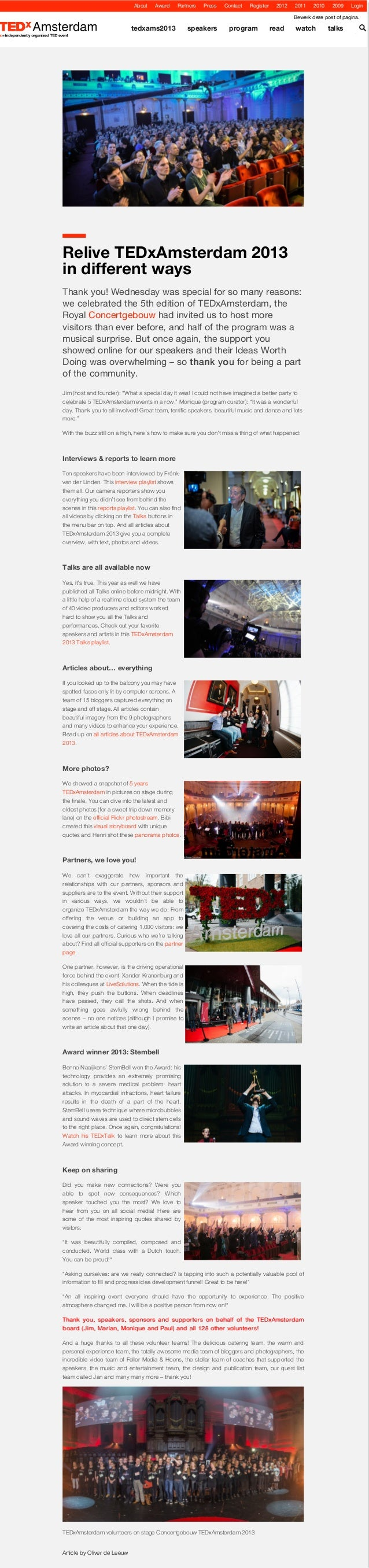 Relive TEDxAmsterdam 2013 in different ways #TEDxAms