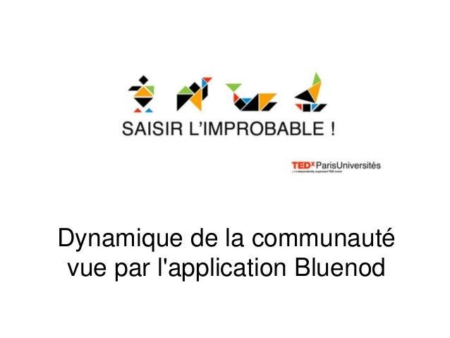 Dynamique de la communautévue par lapplication Bluenod